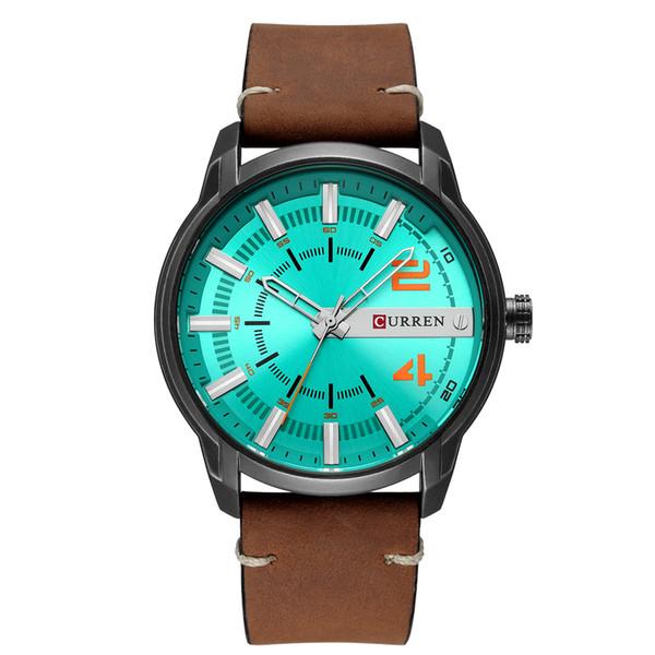 Curren оригинальный хорошее качество мужская водонепроницаемый Кожаный ремешок наручные часы 8306