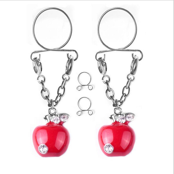Sexy Nipple Rings 16mm 316L Stainless Steel Apple-shaped Adjustable Fake Breast Ring Fun Body Piercing Jewelry Wholesale 0865WH