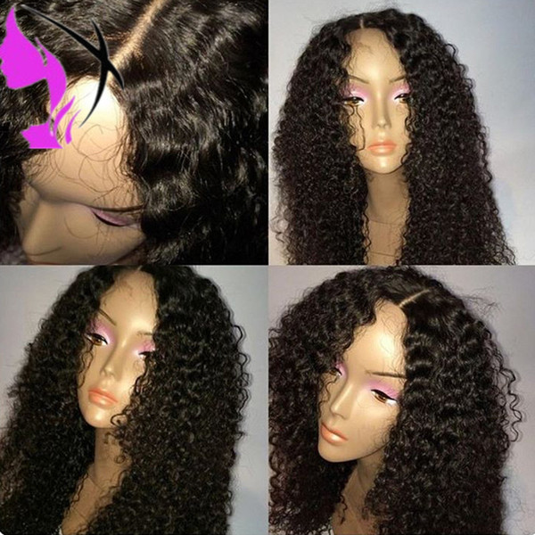Stock middle part Kinky Curly Heat Resistant Lace Front Wig Handmade Glueless Synthetic Natural Hairline Hair Wigs For Women