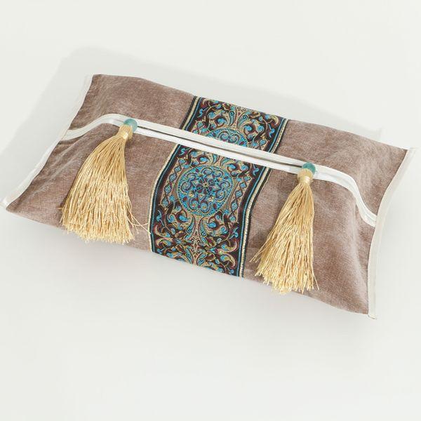 Elegant Chinese Patchwork Lace Tissue Box Cover Home Car Velvet Fabric Napkin paper Set Tassel Removable Facial tissue Case