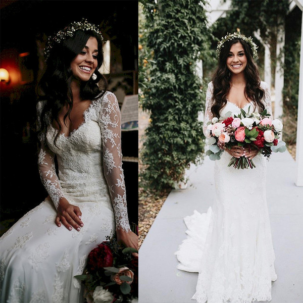 best selling Elegant Cheap Country Full Lace Wedding Dresses Plugging V Neck Long Sleeve Applique Floral Beach Bridal Gowns 2018 berta bridal Designer