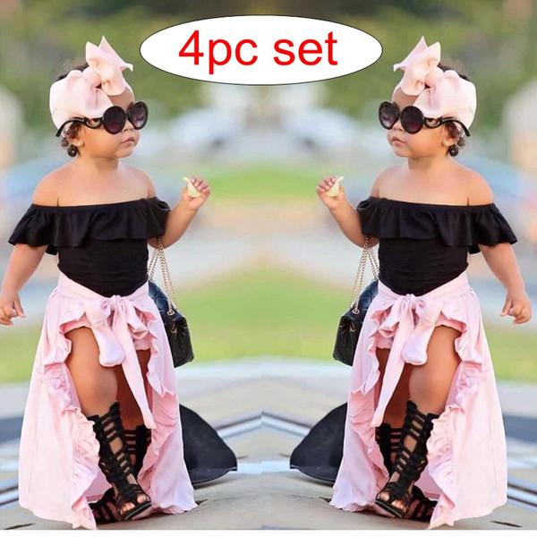 Ins Summer 4pc set Girls Black Off Side Tshirt Tops & kids pink big bow shorts & infant cotton headband & girls dress skirt 0-7years free