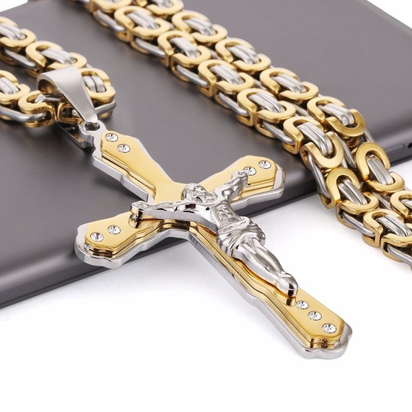 "Christian Jesus Cross Crystal Pendant Necklaces Thick Link Byzantine Chain Stainless Steel Men Jewelry Colar Gift 21.65"" MN79 Y18102910"