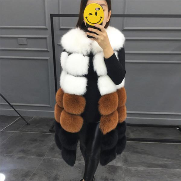 леди женская мода 7 раздел цвет искусственного меха жилет без рукавов куртка талии пальто зима теплая длинная лисий мех жилет куртка жилет для женщин