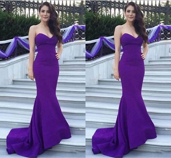 V Neck Formal Satin Evening Dresses Purple Prom Dress Mermaid Simple Fashion Hot Sale 2018 New Custom Made US2-26W++ Pleats Sweep Train