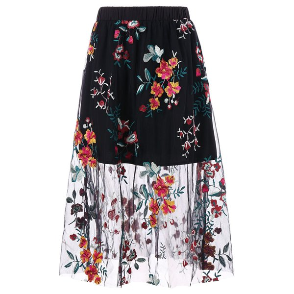 Kenancy 2XL High Waist Embroidered Midi Skirt Embroidered lace Perspective All Match A Line Retro Midi Skirt 2018 Fall New