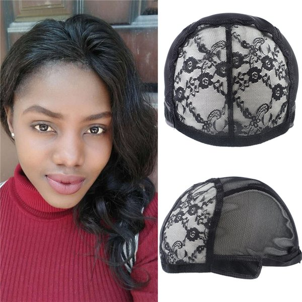 Double Lace Wig Caps For Making Wigs With Adjustable Strap Black Full Head Wig Caps Medium Size Glueless Hair Net