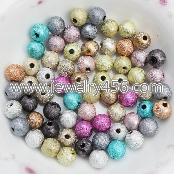 Retail mix color 50 pieces 4MM 6MM 8MM 10MM 12MM loose necklace bracelet stardust acrylic round beads for jewelry making