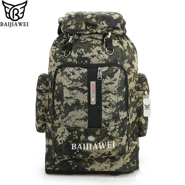 Wholesale- BAIJIAWEI 85 Liters Large Capacity Multifunction Men's Travel Bags Backpack man Camouflage Bag Trekking Rucksacks Men Backpa