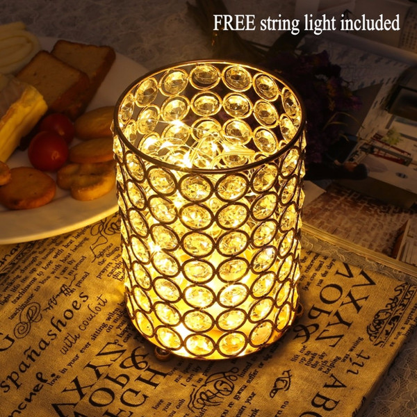 Decorative Glass Vase with Free String Light for Wedding Party Dinner Table Centerpieces Tealight Candle Holder Candlesticks Home Decoration