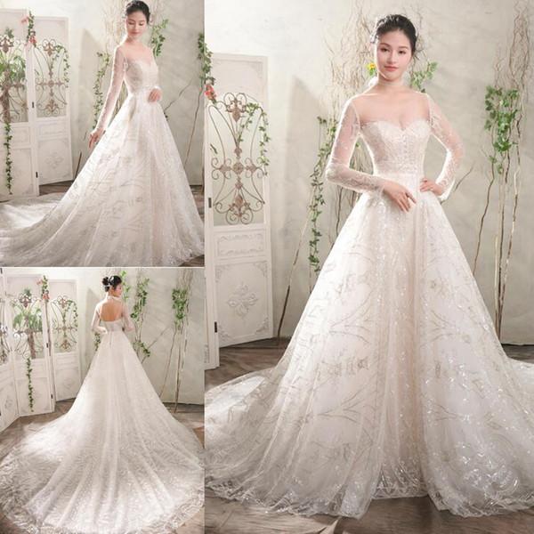 Discount Hight Quality A Line Wedding Dresses Long Sleeve Applique