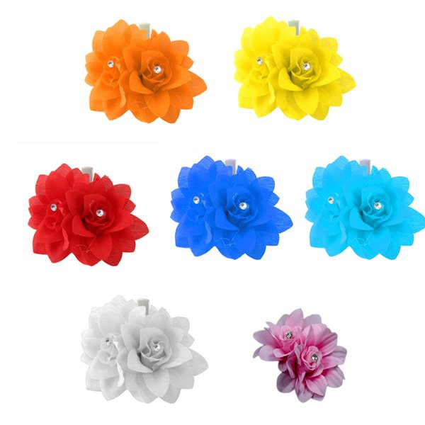 Rhinestones Head Flower Barrees Hair Clips for Girls EleDance Hair Accessories Wedding Rose Hairpin Headwear