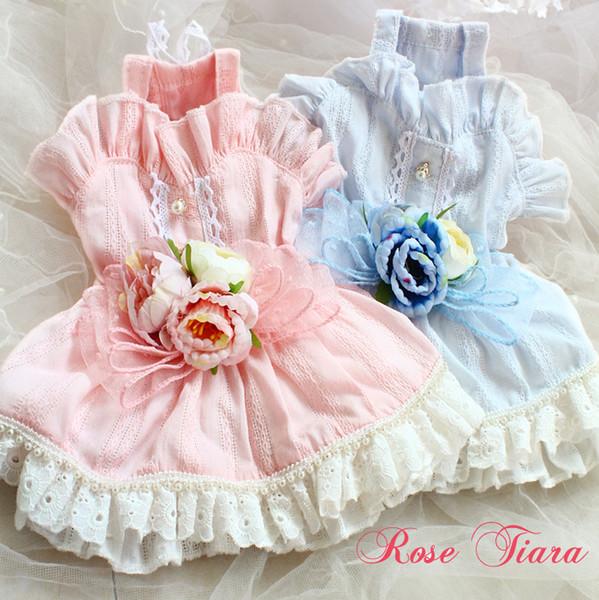 Бесплатная доставка одежда для собак платье ручной работы 3D цветы листья лотоса двойное кружево принцесса ропа перро талисман roupa cachorro