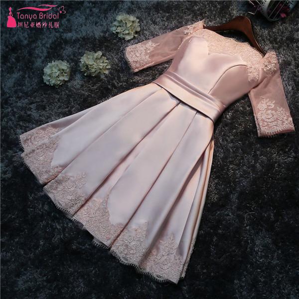 New lace up plus size flesh pink prom party dress bride toast suit Off Shoulder short bridesmaid dresses 2018 wholesale