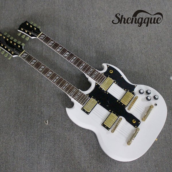 Factory custom double neck electric guitar 12 / 6 strings guitar double headstock mahogany body Offer Customized musical instrument shop
