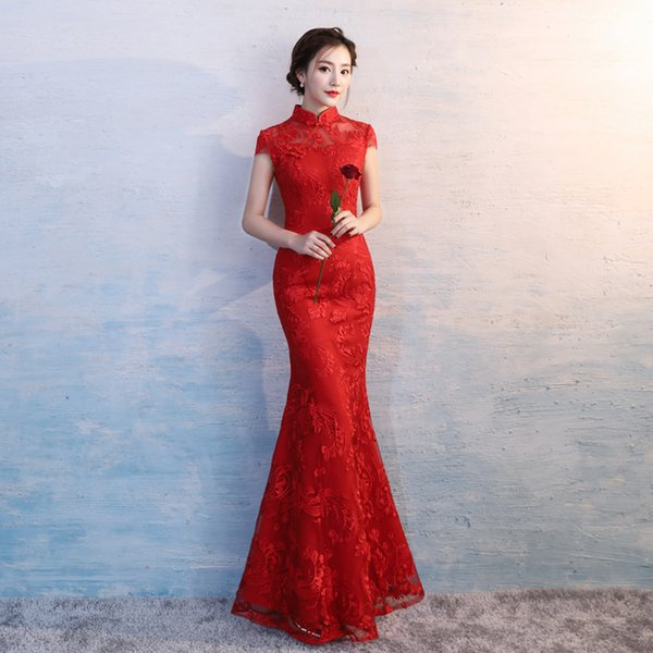 HYG1638 Sexy Long QiPao Evening Dress Cheongsam Qipao Red Cheongsam Modern Chinese Traditional Wedding Dress Women Vestido Oriental Collars