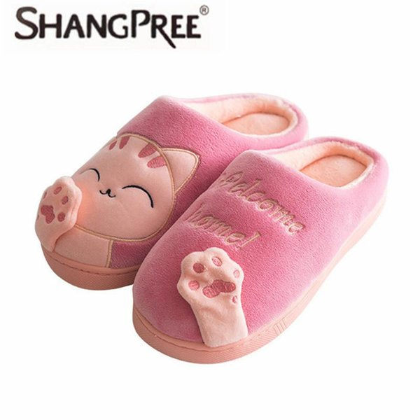Women Winter Autumn Home Slippers Ladies Cartoon Shoes Non-slip Soft Warm Slippers Indoor Bedroom Loves Couple Floor Shoes
