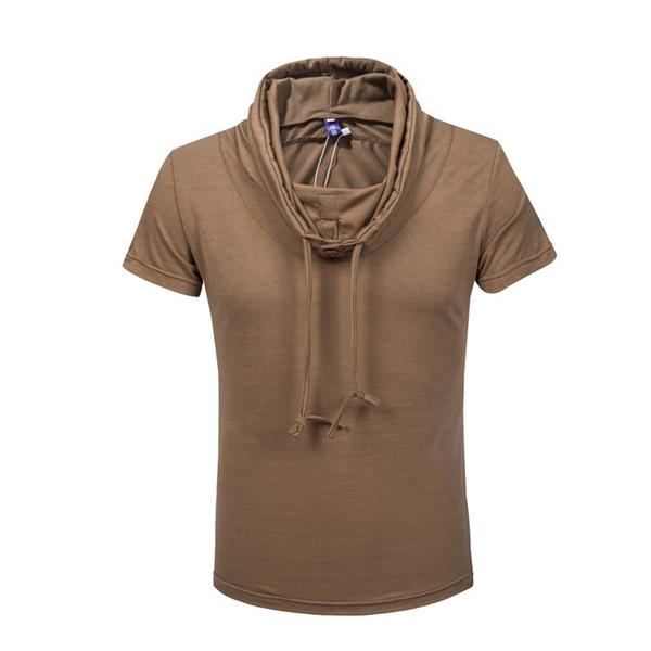 Erkek yaz taze hava yığını yaka kısa kollu Kore ince düz renk t - gömlek kazak renkli ceket yarım kollu