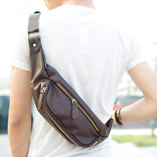 2018 bolso pequeño para hombre bolsos de hombro Bolso de cintura alta de cuero de la PU para hombres Bolsos de mensajero de los hombres Bolsillo del pecho de la cintura masculina