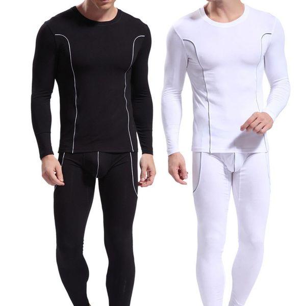 3a8554c2db Fashion Men Stripe Pattern Long Sleeve Thermal Underwear Slim Fit Top Pants  Set hot