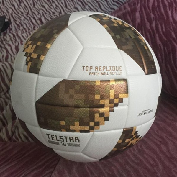 top popular Free Shipping 2018 Russia World Cup Soccer Ball Official Size 5 Ball Anti-slip Gold Football futbol bola High qualiyt soccer ball for match 2021