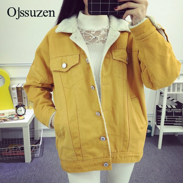 Yellow Denim Jacket Outerwear Womens Winter Jeans Jacket Lambswool Long Sleeve Red Winter Coat Warm Women Loose Clothes Spring S18101203
