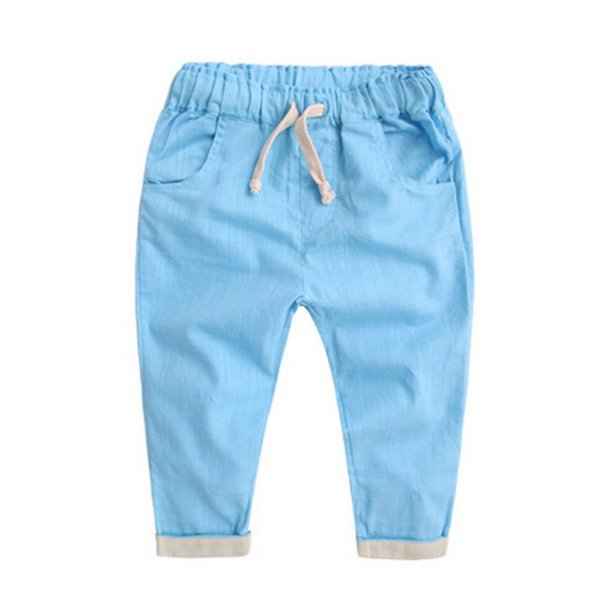 Kids Baby Mid Loose Drawstring Cotton Long Pants Toddler Girls Boys Harem Solid Fashion Soft Trousers 2-7 T