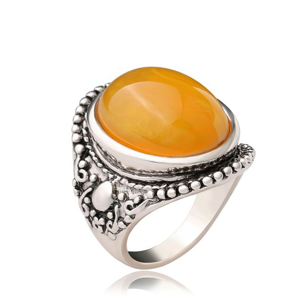 Wholesale- Luxury Trendy Natural Stone Ring For Women Dazzle Beautiful Accessories Silver Plated Artificial Coral Vintage Oval Big Rings