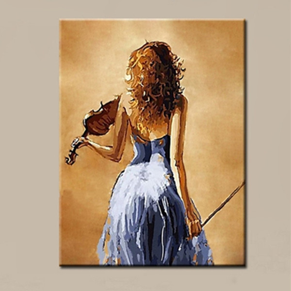 Hand Painted Figure Oil Painting on Canvas Modern Home Decor Wall Art Picture Handmade Music Girl Paintings Sexy Oils