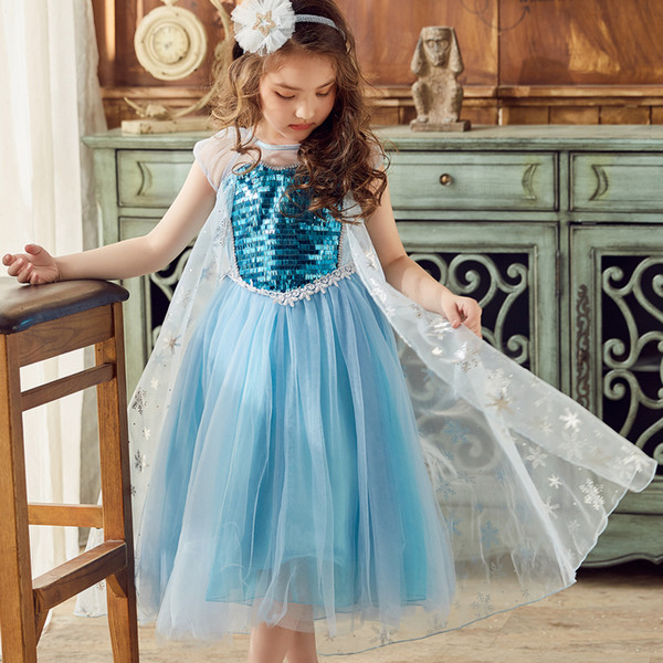 2-12Y Christmas Carnival Costume For Kids Party Elza Dresses full sleeves Sequined Costumes cosplay Vestidos Fantasia Kids Dress