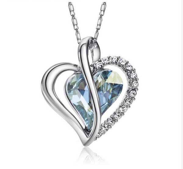 Austria Crystal & Rhinestone Long Charm Pendants Statement Necklace Women Romantic Blue Love Heart Style