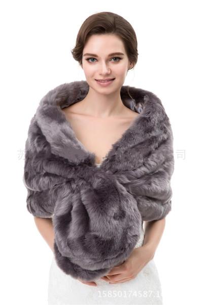 2018 Cheap Faux Fur Bridal Wraps Brown Color Wedding Bridal Wrap Women Shawl for Wedding Events Party