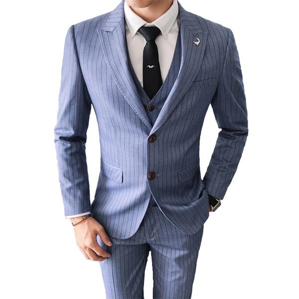 3Pieces Top Quality Suit Men Fashion Stripe Male Suit Mens Dinner Party Prom Suits Tuxedos Groomsmen Wedding Dress 4XL-M