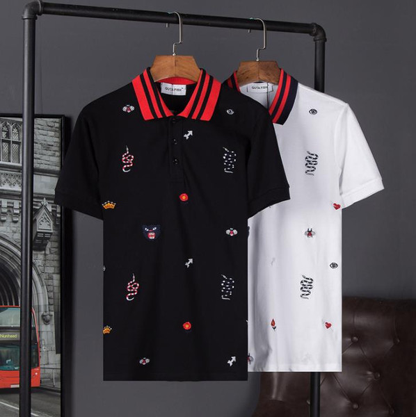 2018 Summer New Europe and America Tide Brand POLO Shirt Cotton Crown Bee Snake Embroidery Button Short-sleeved Men's Shirt Free Shipping
