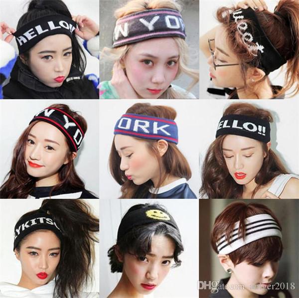 Großhandels Sport Bandanas band ornament fitness yoga erwachsenen haarband stricken laufkopf mit männlichen und weiblichen buchstaben elastische haarband.