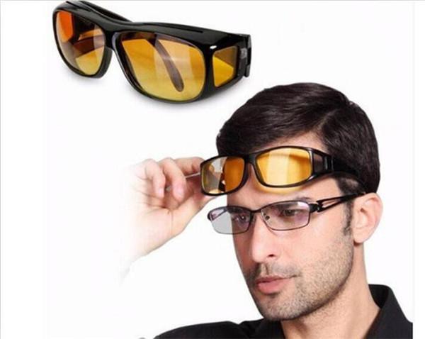10 pcs hd visão noturna condução óculos de sol dos homens lente amarela sobre envoltório em torno de óculos de condução escuro uv400 óculos de proteção antiofuscante j030