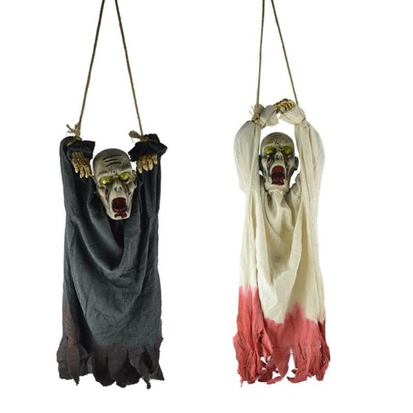 Plastic Shining Skull Ghost Zombie Hanging Skeleton Ghost Halloween Decor Hanging Holiday Festive Home Decoration Party Supplies