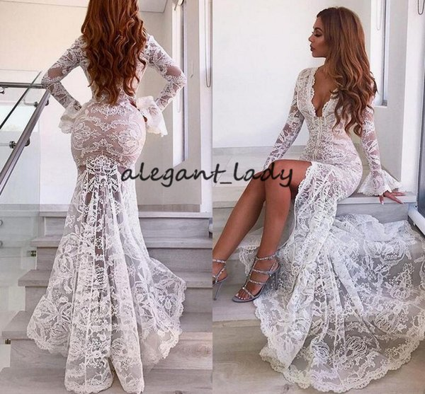 Sexy White Lace Long Sleeve Prom Formal Party Dresses with Slit 2018 Modest Mermaid Fishtail Women Occasion Evening Wear Dress