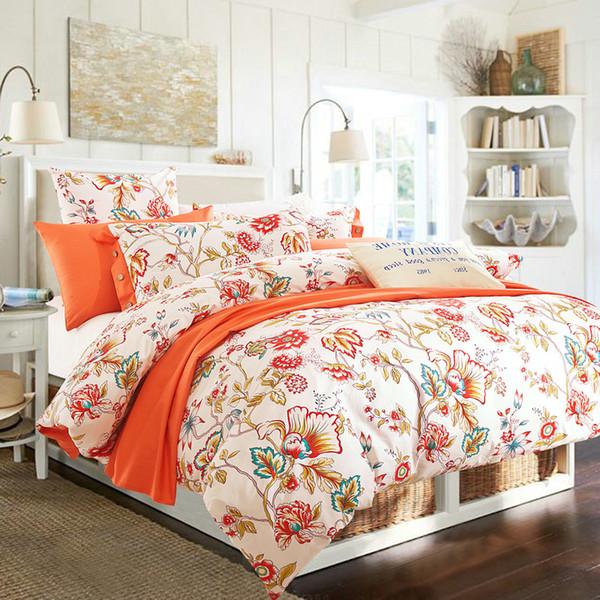 100% cotton bedding sets 4pcs queen king duvet cover set beautiful bedding quality for girls adult rose tree orange purple #2