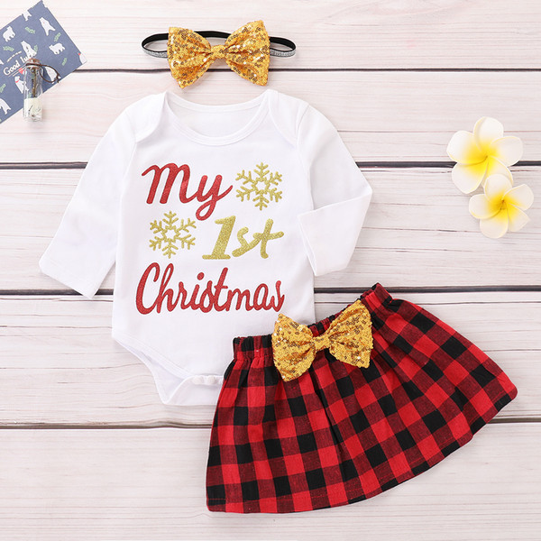 Xmas Baby letter print outfits children girls Santa Claus romper+skirts with headband 3pcs/set fashion Christmas kids Clothing Sets C4935