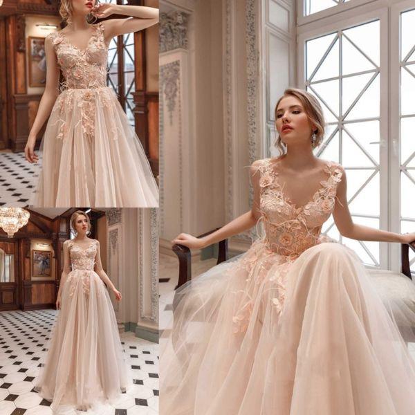 Pastels Feather 3D Floral Appliques Wedding Dresses With Beads Light Pink A Line Bridal Gowns Zipper V Sheer Neck Vestidos De Novia