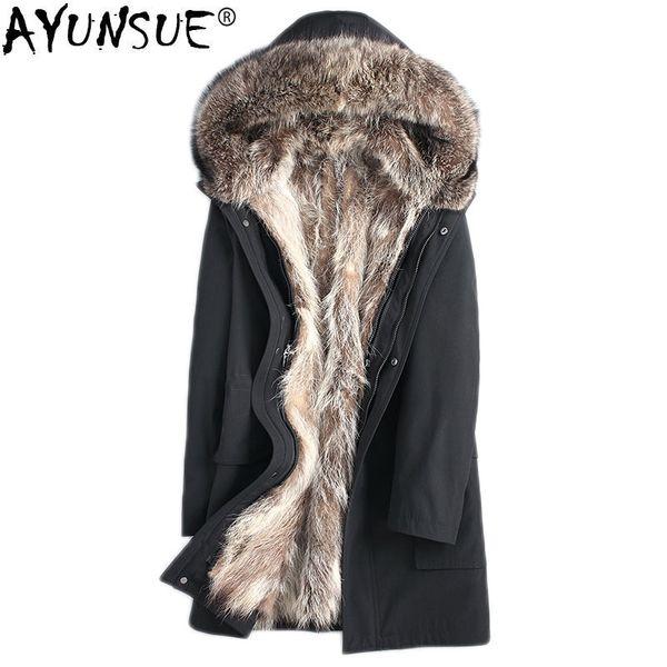 AYUNSUE Parka Homme Real Abrigo de piel de mapache Chaqueta de invierno Hombres Moda Abrigo largo Tallas grandes Parkas 4xl Chaquetas y abrigos para hombre MY1240