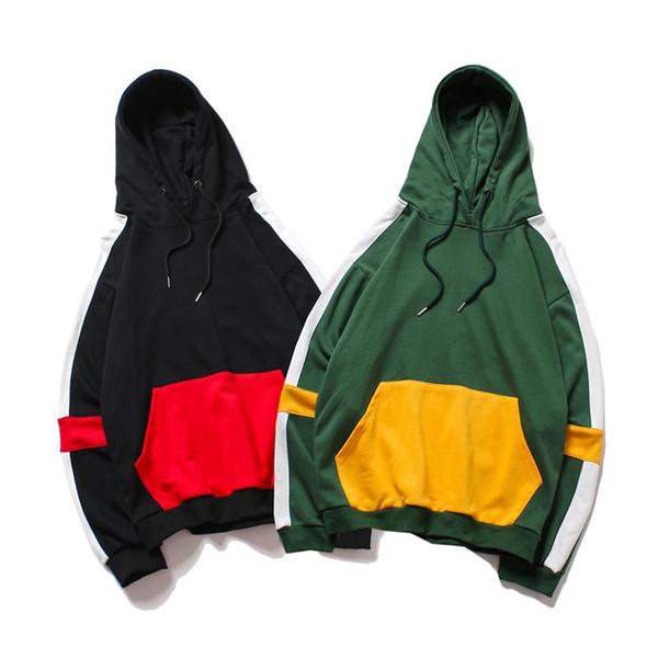 2018 neue Männer Langarm Hoodies Mode Lässig Oansatz Pullover Mit Kapuze Sweatshirts Frauen Männer Streetwear Stitching Hoodies Neutral Kleidung