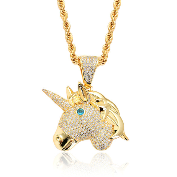 Ins Europe and America New hip-hop ornaments Unicorn pendant micro zircon Onyx eyes personality hiphop Necklace Jewelry