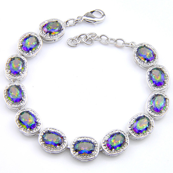 Regalo di natale Luckyshine Creato ovali arcobaleno Natural Mystic Bracciali tennis Topaz Jewelry uno stile elegante e amanti Bracciali