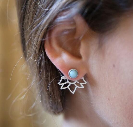 Trendy natural stone earrings Gold Silver Color Alloy Spike Earrings Ear Jacket Clip Stud Earrings for Women