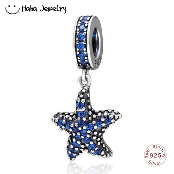 Haha Jewelry Ocean Series Blue Starfish Pendant Charm with CZ Authentic 925 Sterling Silver Bead Fit Pandora Charms Bracelet Making