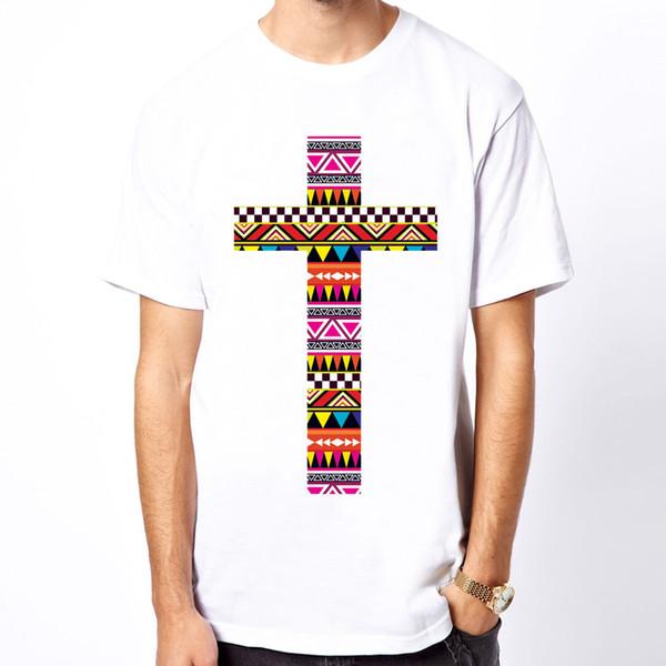 AZTEC CROSS Tribal Tribe Pattern Retro Geometric Pyramid Stud art men t-shirt