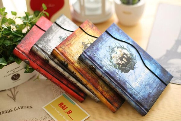 Vintage Harry Potter notepads Retro paper Magic Diary Book Notepad Magnet Notebook office school supplier student paper notebooks epacket