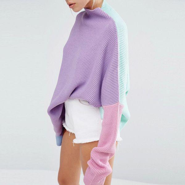 Compre Irisie Otoño Moda Púrpura Mujeres Suéter De Punto Casual ...